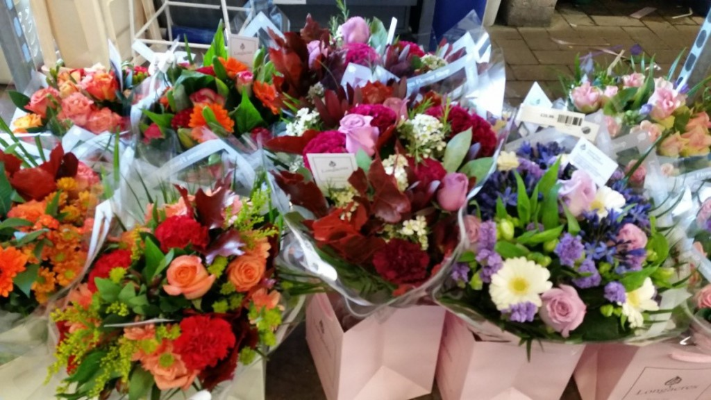 A selection of hand-tied bouquets at Longacres Bagshot