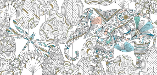 Elephant colouring in design