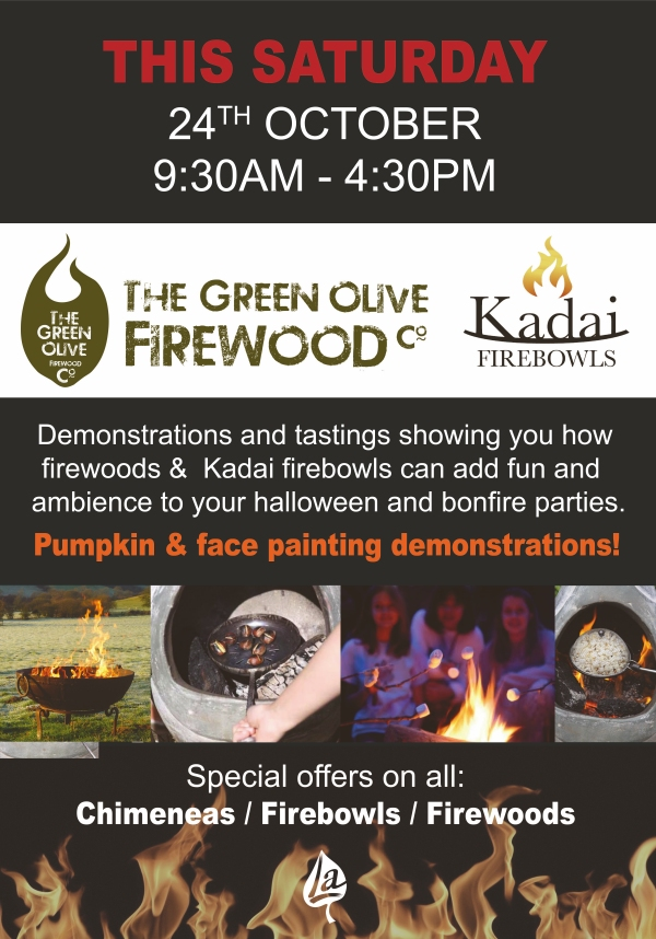 Green Olive Firewood and Kadai Firebowls Event Flyer