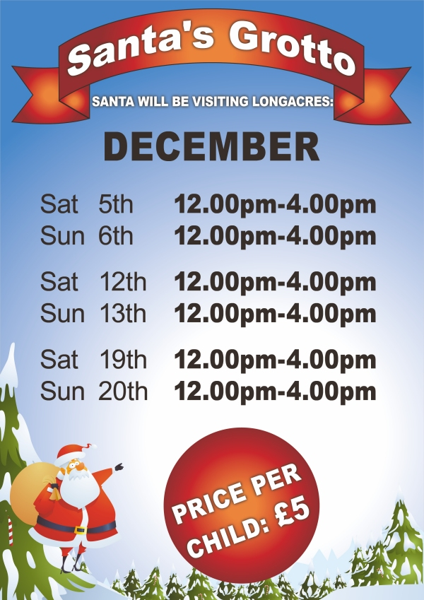 Grotto Opening Times Shepperton 2015 Flyer