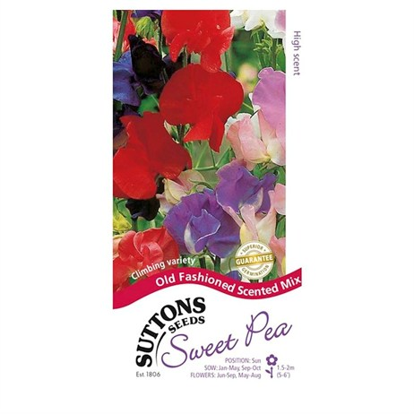 Suttons Sweet Pea Seeds - Old Fashioned Scented Mix (134254)