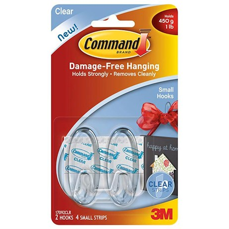 Command Small Clear Hooks with Clear Strips 17092CLR (4363-CL)