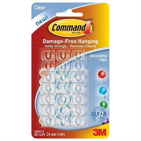 Command Clear Decorating Clips with Clear Strips 17026CLR (4373-CL)