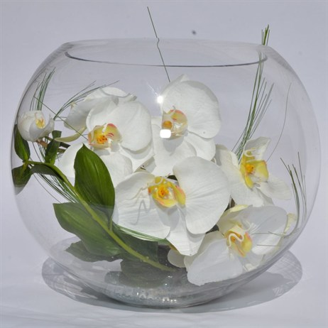 Artificial Phalaenopsis Orchid Fish Bowl