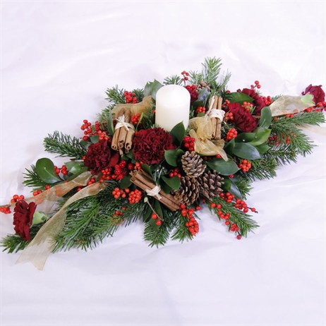 Christmas Carnation & Berry Long & Low Arrangement with Candle