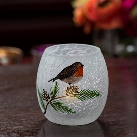 Fountasia Crackled Glass Small Robin Light  (33103)