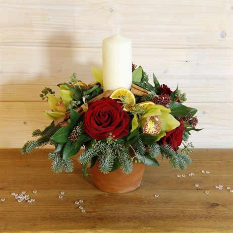 Christmas Luxury Red Rose & Orchid Terracotta Pot with Candle