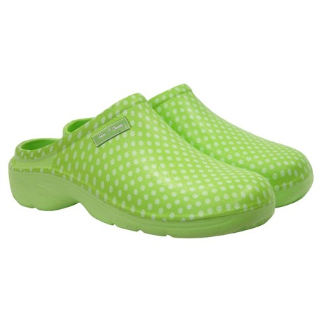 Town and Country Polka Dot Cloggies - Lime - 4 (TFW627)