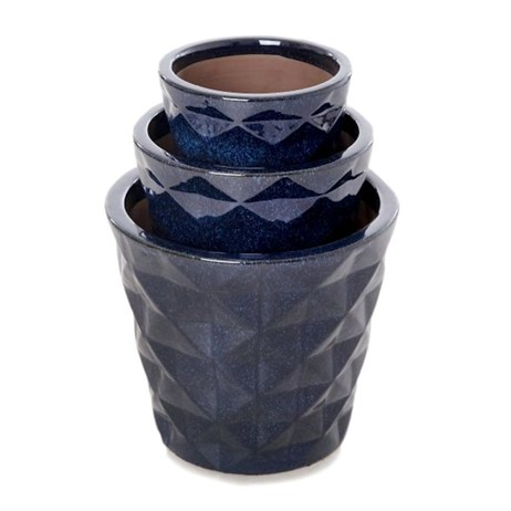 Unique Mop Glazed Diamond Relief Planter 23 x 20cm - Navy