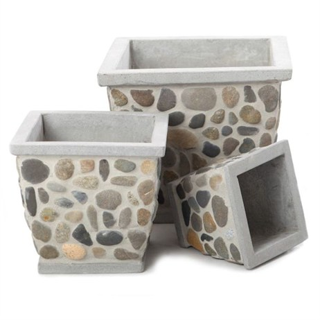 Unique Pebbles Square Planter 25 x 23cm