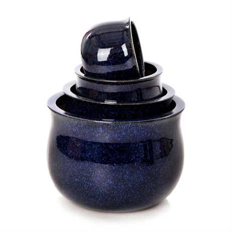 Unique Rocky Glazed Bavarian Pot 19 x 14cm - Navy