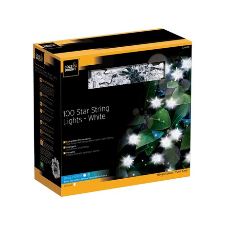 Gardman 100 Star String Lights - White (L24005)