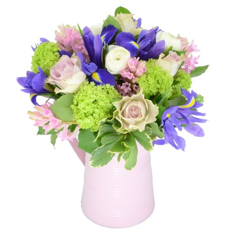 Hyacinth & Iris Mother's Day Flowers Jug Arrangement