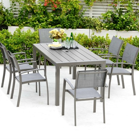 Lifestyle Garden Solana 6 Seat Rectangular Mixed Chair Dining Set