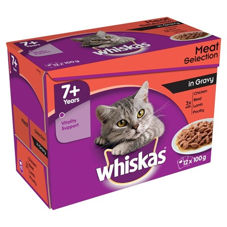 Whiskas Senior Meat Selection In Gravy Wet Cat Food Multi-Pack Pouches