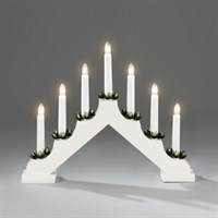 Konstsmide White Wooden Christmas Candlebridge Lights with 7 Candles (2262-210EE)