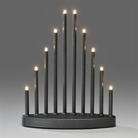 Konstsmide Anthracite Grey Metal Candlebridge Lights with 10 Candles (2401-370TE)