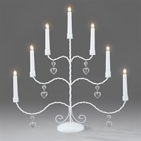 Konstsmide Metal Glossy White Candlebridge with Hanging Hearts and 7 Candles (2481-215TE)