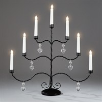 Konstsmide Metal Black Lacquered Candlebridge with Hanging Hearts and 7 Candles (2481-710TE)