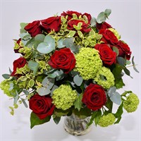 Red Rose & Viburnum Hand Tied Bouquet