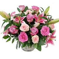 Pink Rose & Lily Hand Tied Bouquet