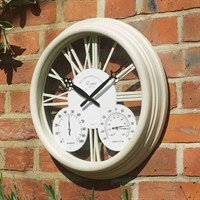 Outside-In Exeter White 15in Wall Clock and Thermometer (5061000)