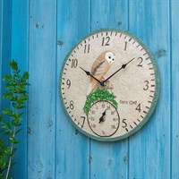 Outside-In Barn Owl 12in Wall Clock and Thermometer (5064004)