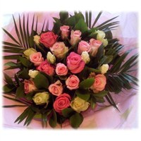 Timeless Pink and White Roses Hand Tied Bouquet
