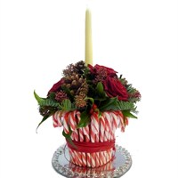 Christmas Candy Cane Pot Arrangement with Candle