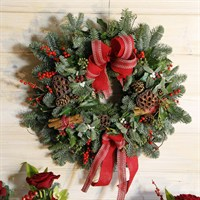 Christmas Rustic Door Wreath with Bows