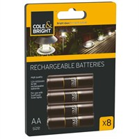 Cole & Bright AA Ni-MHz Rechargeable Batteries - 8 (18147)