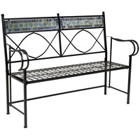 Charles Bentley Garden 2-3 Seat Blue Mosaic Bench Outdoor Patio (GLMOSAICBENCHBL) DIRECT DISPATCH