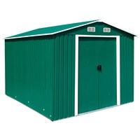 Charles Bentley 12ft x 10ft Green Metal Garden Shed (GLMTSHED06) DIRECT DISPATCH