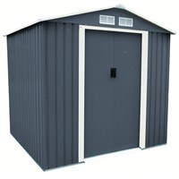 Charles Bentley Dark Grey Apex 6ft x 6ft Metal Garden Shed (GLMTSHED07) DIRECT DISPATCH