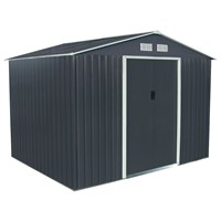 Charles Bentley Dark Grey Apex 6ft x 9ft Metal Garden Shed (GLMTSHED08) DIRECT DISPATCH