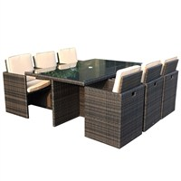 Charles Bentley 7pc Compact Rattan Dining Set in Brown (GLWF19) DIRECT DISPATCH