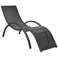 Charles Bentley Curved Rattan Sun Lounger in Dark Brown (GL/WF.LOUNGE.02) DIRECT DISPATCH