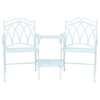Charles Bentley Garden Ornate Wrought Iron Companion Seat - Blue (GLWICOMPSEATBL) DIRECT DISPATCH