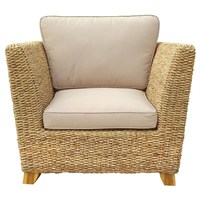 Charles Bentley Natural Water Hyacinth Conservatory Arm Chair With Cushion (HMWHARMCH) DIRECT DISPATCH