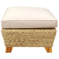 Charles Bentley Natural Water Hyacinth Foot Stool With Cushion (HMWHFSTOOL) DIRECT DISPATCH
