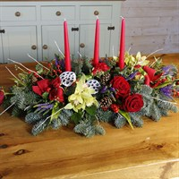 Christmas Luxury Long & Low Table Arrangement with Candles