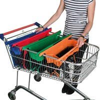 Foldable Shallow Shopping Trolley Bags Express Vibe Reusable Set of 4 (TB002)