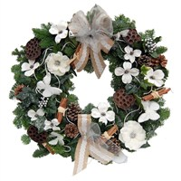 Christmas White & Natural Door Wreath with Bow