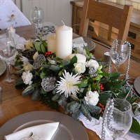 Christmas White Long & Low Table Arrangement