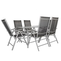 Charles Bentley 6 Seater Mesh Dining Furniture Set Table And Chairs - Grey (WO/GL/TXT/SET.G) DIRECT DISPATCH