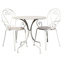 Charles Bentley Steel Heart 2 Seater Dining Set in Cream (WO/ST/H.02/CR) DIRECT DISPATCH