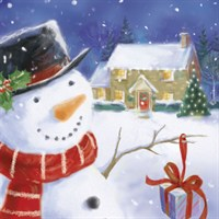 Ling 6 Pack Charity Christmas Cards - Glitter Snowman Scene - 13.5cm (X12103RCJP)