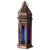 Direct Dispatch Ivyline Coloured Glass Moroccan Lantern Large (GRFFCGML32)