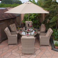 Firmans Corfu 6 Seat Eliptical Dining Set With Wing Back Chairs - 180cm (499227)