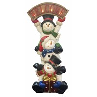 Fountasia Christmas Snowman Trio Statue With Welcome Sign (77108)